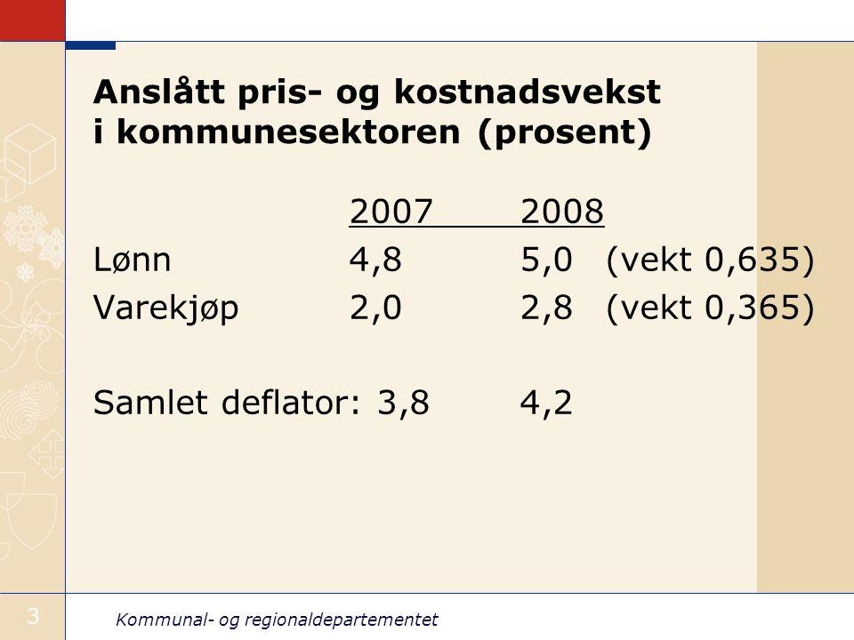 Kommunal- og regionaldepartementet 3 Anslått pris- og kostnadsvekst i kommunesektoren (prosent) 20072008 Lønn4,85,0(vekt 0,635) Varekjøp2,02,8(vekt 0,365) Samlet deflator: 3,84,2