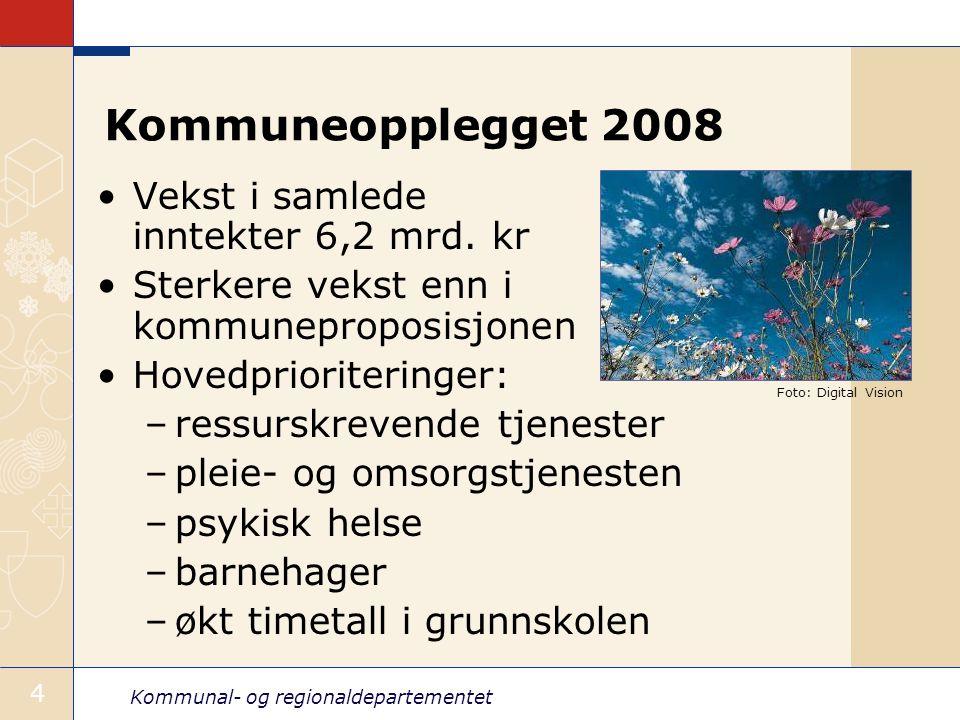 Kommunal- og regionaldepartementet 4 Kommuneopplegget 2008 Vekst i samlede inntekter 6,2 mrd.