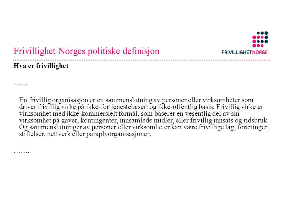 Frivillighet Norges politiske definisjon Hva er frivillighet …… En frivillig organisasjon er en sammenslutning av personer eller virksomheter som driv