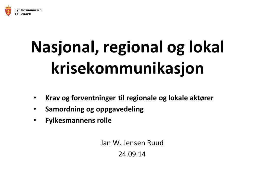 Fylkesmannen i Telemark Nasjonal, regional og lokal krisekommunikasjon Krav og forventninger til regionale og lokale aktører Samordning og oppgavedeli