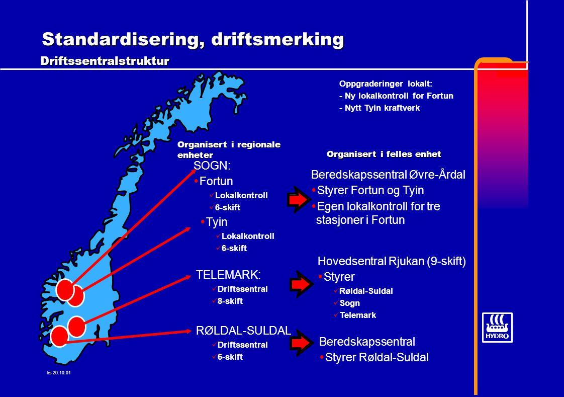 lrs 20.10.01 Standardisering, driftsmerking Driftssentralstruktur Organisert i regionale enheter SOGN:  Fortun Lokalkontroll 6-skift  Tyin Lokalkontroll 6-skift RØLDAL-SULDAL Driftssentral 6-skift TELEMARK: Driftssentral 8-skift Beredskapssentral Øvre-Årdal  Styrer Fortun og Tyin  Egen lokalkontroll for tre stasjoner i Fortun Beredskapssentral  Styrer Røldal-Suldal Hovedsentral Rjukan (9-skift)  Styrer Røldal-Suldal Sogn Telemark Organisert i felles enhet Oppgraderinger lokalt: - Ny lokalkontroll for Fortun - Nytt Tyin kraftverk