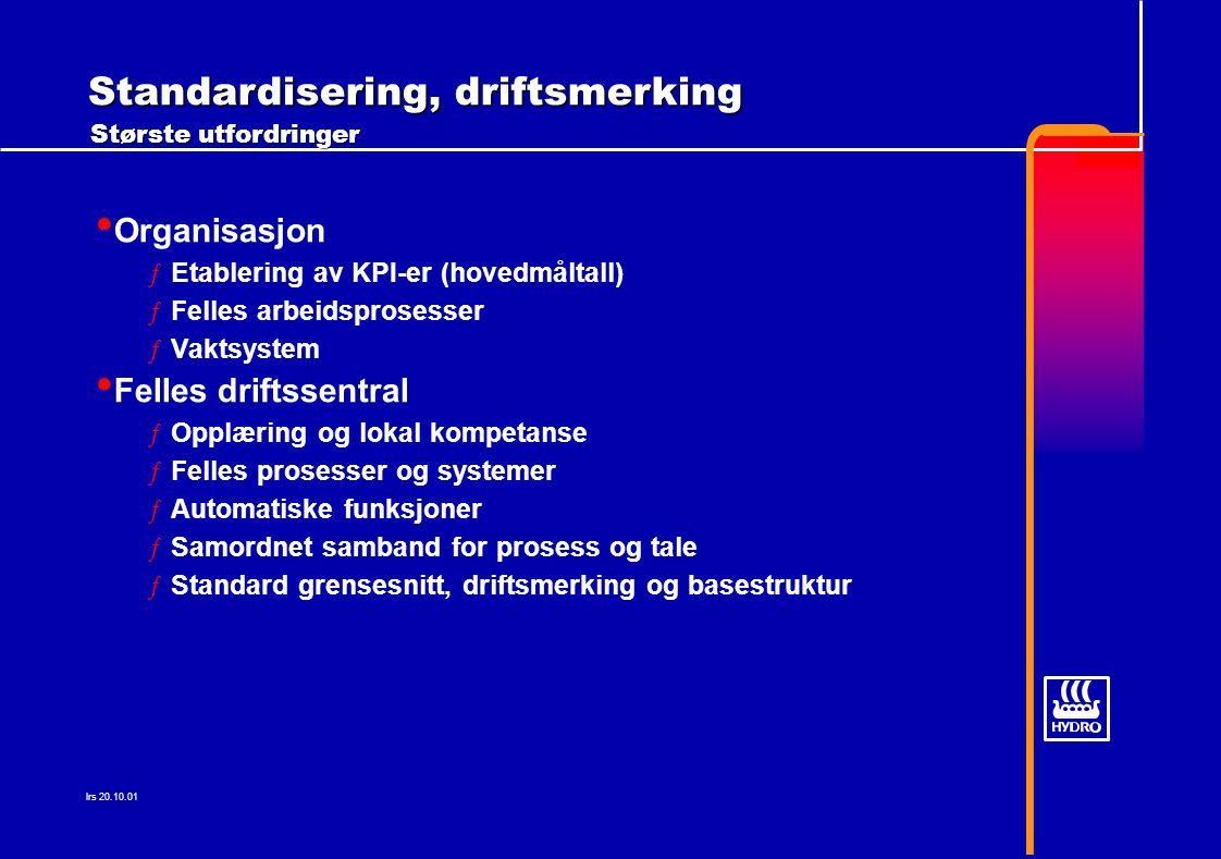 Organisasjon: Etablering av KPI-er (hovedmåltall) ƒHMS  Rammer for sikker drift av kraftverkene ƒKOSTNADER  Benchmarking , grunnlag for kostnadsmål innen drift og vedlikehold ƒTILGJENGELIGHET  Maksimalisering av tilgjengelighet over tid øker inntekstspotensialet.