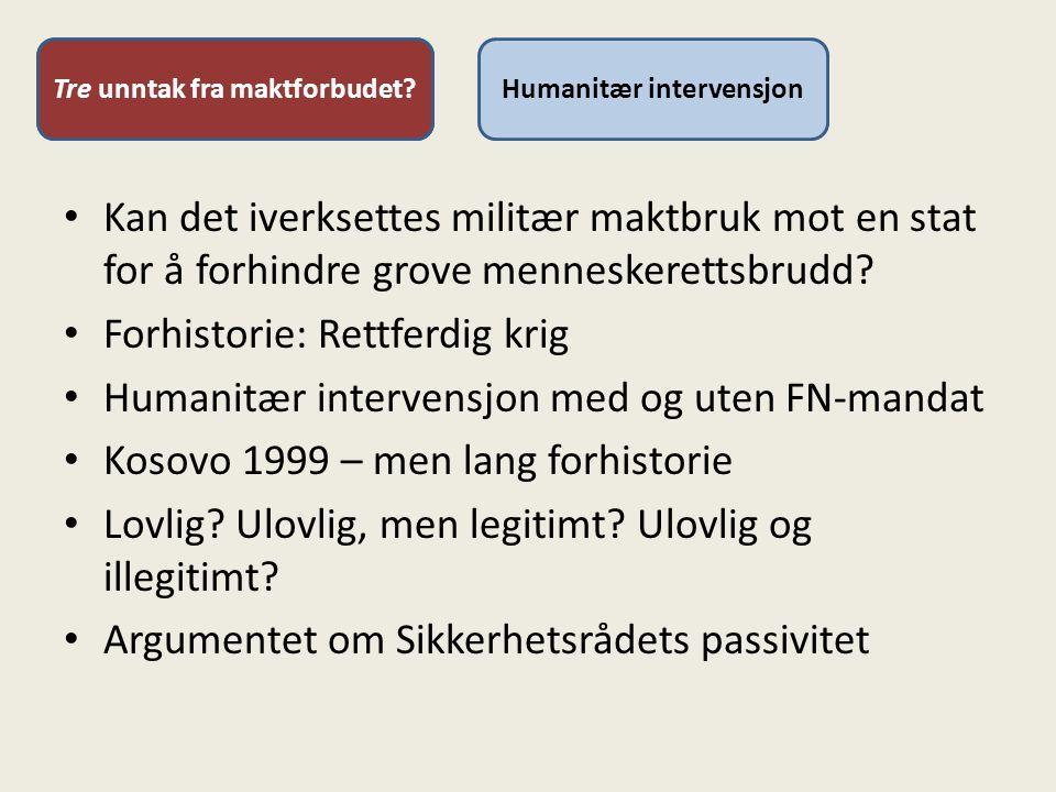 To unntak fra maktforbudetHumanitær intervensjonTre unntak fra maktforbudet.