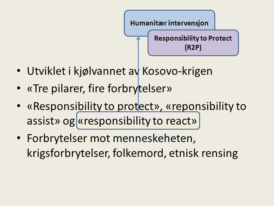 Humanitær intervensjon Responsibility to Protect (R2P) Utviklet i kjølvannet av Kosovo-krigen «Tre pilarer, fire forbrytelser» «Responsibility to protect», «reponsibility to assist» og «responsibility to react» Forbrytelser mot menneskeheten, krigsforbrytelser, folkemord, etnisk rensing