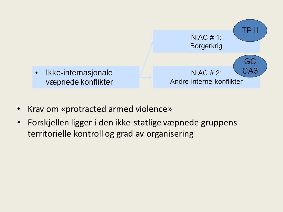 Ikke-internasjonale væpnede konflikter NIAC # 1: Borgerkrig NIAC # 2: Andre interne konflikter TP II GC CA3 Krav om «protracted armed violence» Forskjellen ligger i den ikke-statlige væpnede gruppens territorielle kontroll og grad av organisering