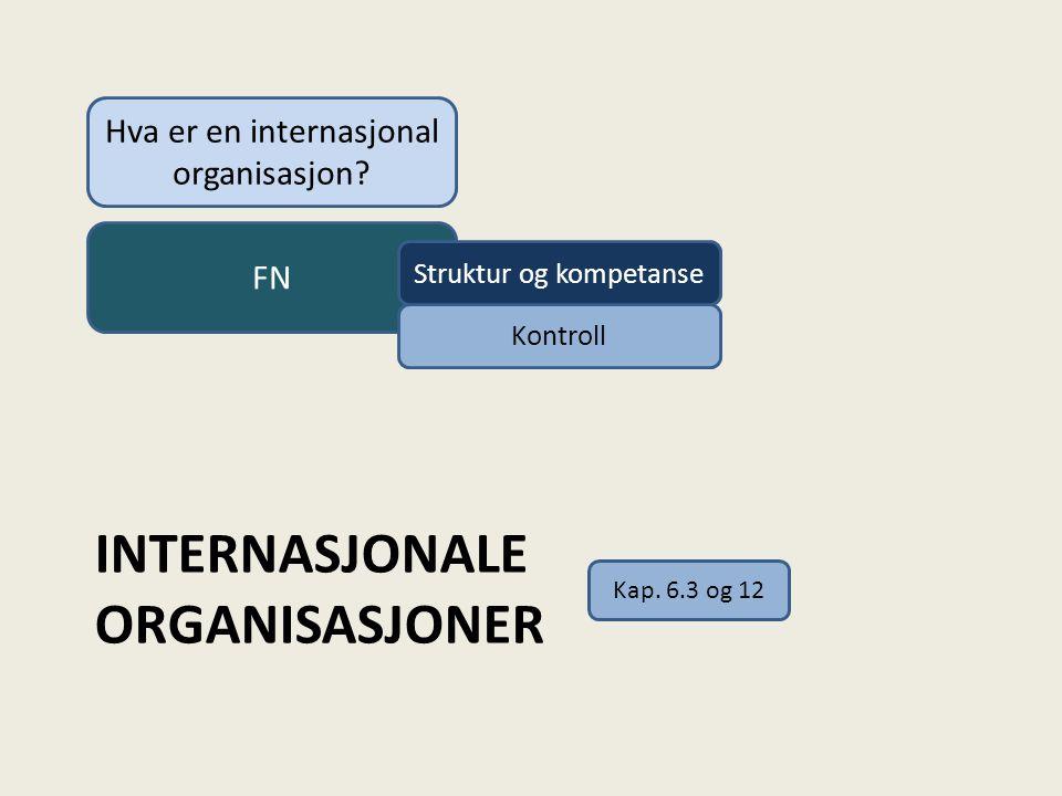 INTERNASJONALE ORGANISASJONER Kap.6.3 og 12 Hva er en internasjonal organisasjon.