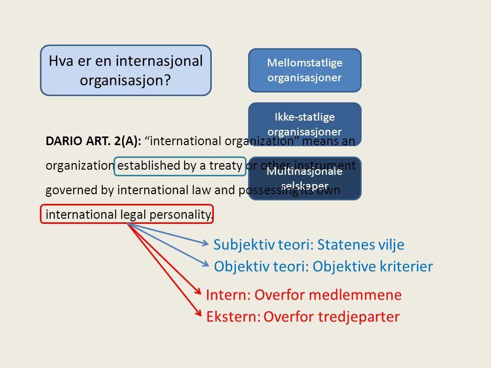 Hva er en internasjonal organisasjon.