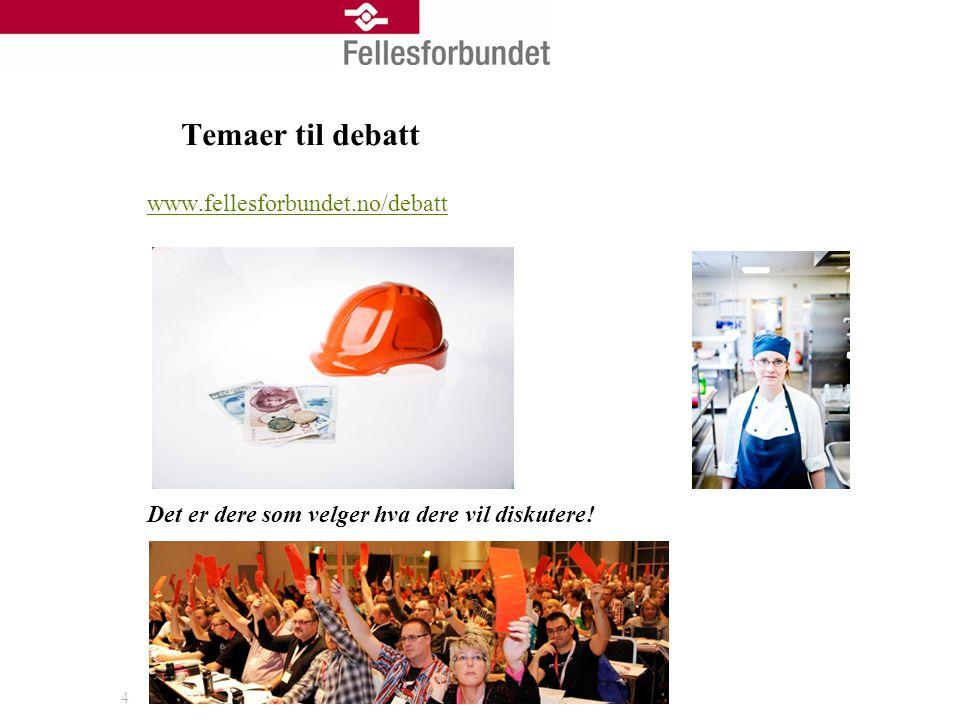 Temaer til debatt www.fellesforbundet.no/debatt Det er dere som velger hva dere vil diskutere! 4