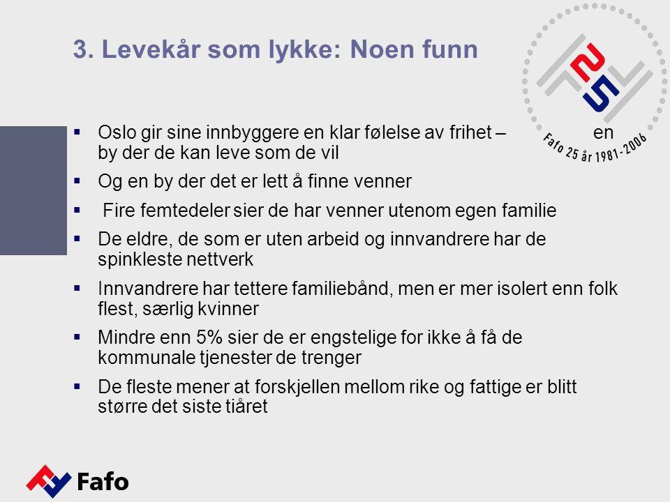 3. Levekår som lykke: Noen funn  Oslo gir sine innbyggere en klar følelse av frihet – en by der de kan leve som de vil  Og en by der det er lett å f