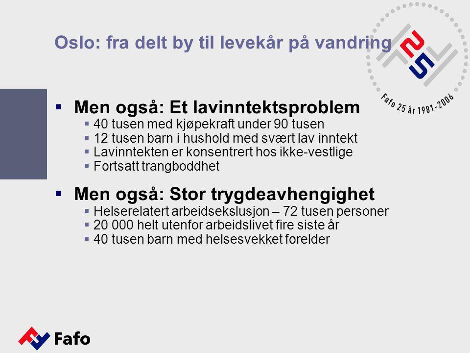Oslo: fra delt by til levekår på vandring  Men også: Et lavinntektsproblem  40 tusen med kjøpekraft under 90 tusen  12 tusen barn i hushold med svæ
