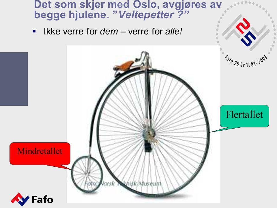 """Det som skjer med Oslo, avgjøres av begge hjulene. """"Veltepetter ?""""  Ikke verre for dem – verre for alle! Flertallet Mindretallet"""