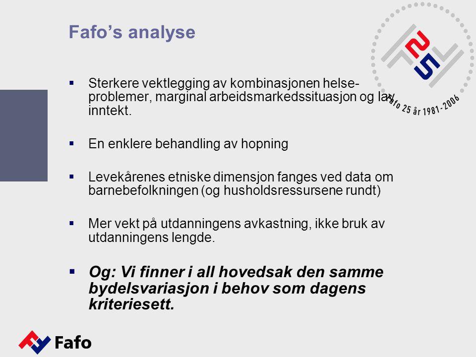 Fafo's analyse  Sterkere vektlegging av kombinasjonen helse- problemer, marginal arbeidsmarkedssituasjon og lav inntekt.  En enklere behandling av h