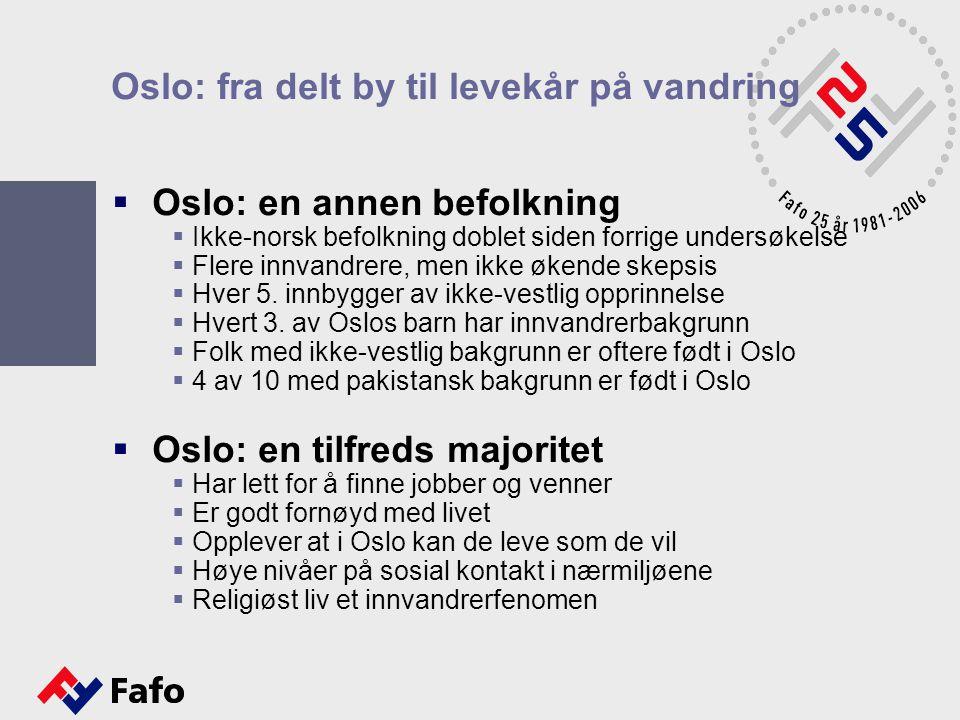 Oslo: fra delt by til levekår på vandring  Oslo: en annen befolkning  Ikke-norsk befolkning doblet siden forrige undersøkelse  Flere innvandrere, m