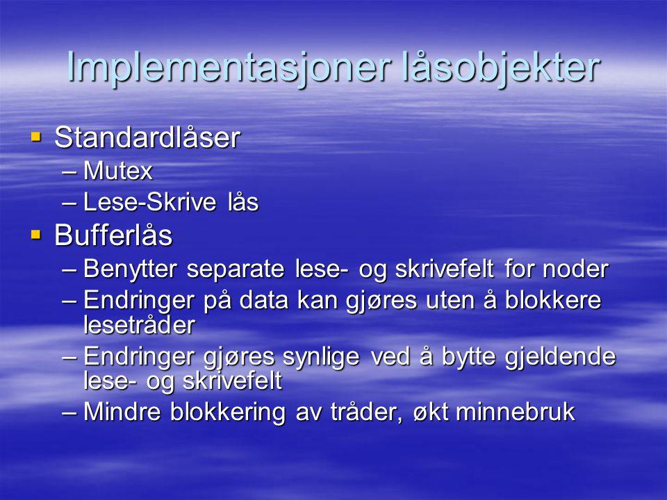 Implementasjoner låsobjekter  Standardlåser –Mutex –Lese-Skrive lås  Bufferlås –Benytter separate lese- og skrivefelt for noder –Endringer på data k