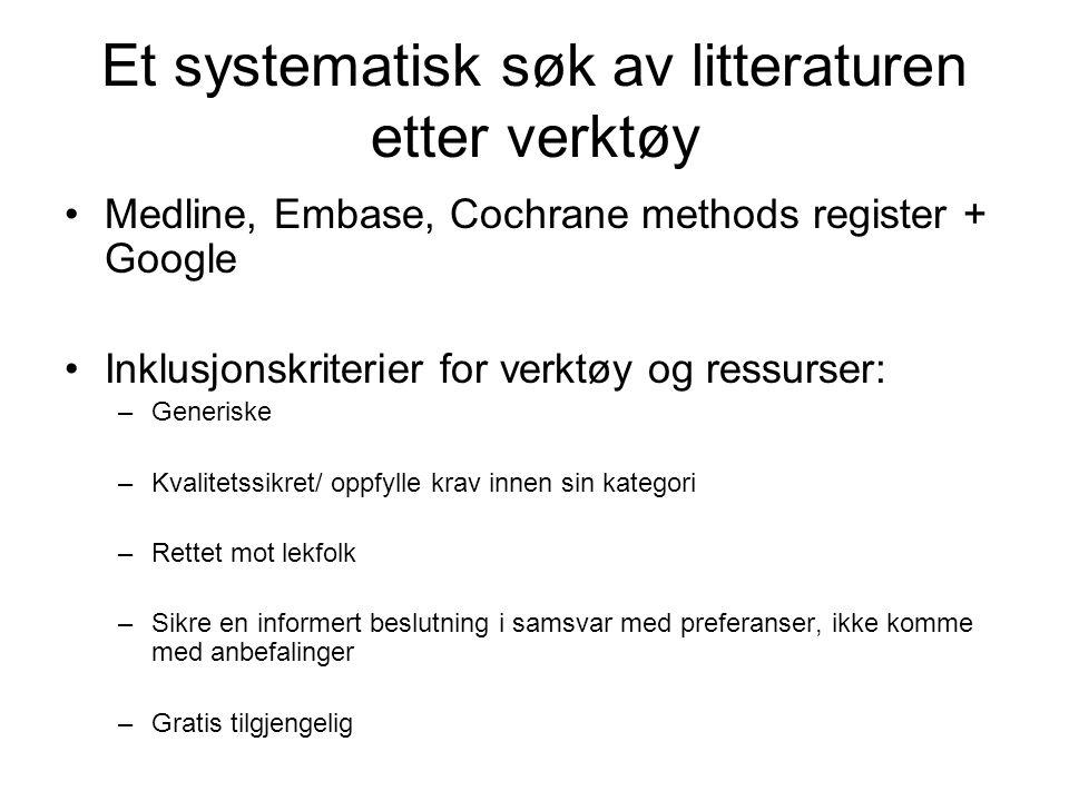 Et systematisk søk av litteraturen etter verktøy Medline, Embase, Cochrane methods register + Google Inklusjonskriterier for verktøy og ressurser: –Generiske –Kvalitetssikret/ oppfylle krav innen sin kategori –Rettet mot lekfolk –Sikre en informert beslutning i samsvar med preferanser, ikke komme med anbefalinger –Gratis tilgjengelig