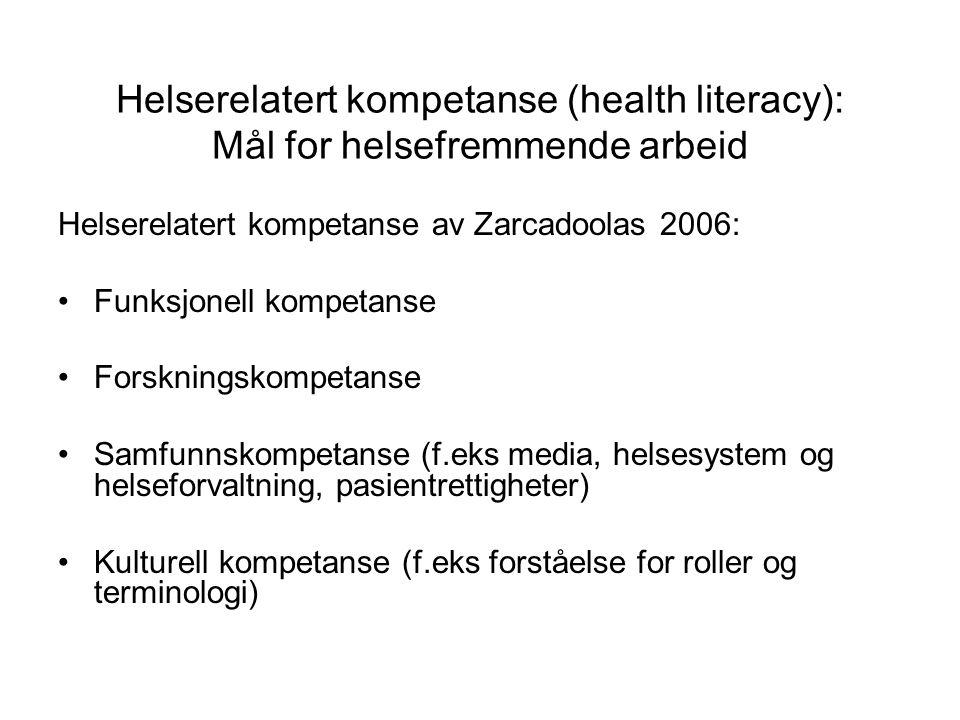 Helserelatert kompetanse (health literacy): Mål for helsefremmende arbeid Helserelatert kompetanse av Zarcadoolas 2006: Funksjonell kompetanse Forskningskompetanse Samfunnskompetanse (f.eks media, helsesystem og helseforvaltning, pasientrettigheter) Kulturell kompetanse (f.eks forståelse for roller og terminologi)