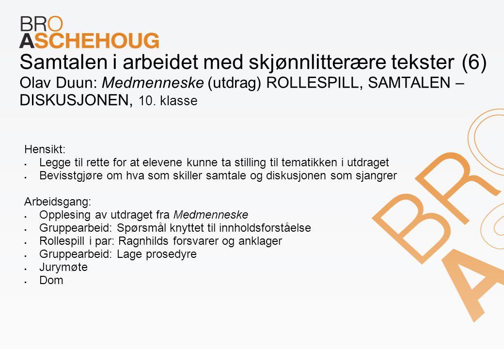 Samtalen i arbeidet med skjønnlitterære tekster (6) Olav Duun: Medmenneske (utdrag) ROLLESPILL, SAMTALEN – DISKUSJONEN, 10. klasse Hensikt:  Legge ti