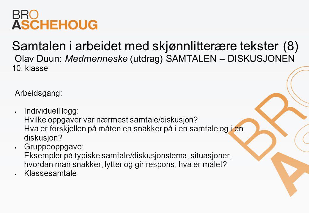 Samtalen i arbeidet med skjønnlitterære tekster (8) Olav Duun: Medmenneske (utdrag) SAMTALEN – DISKUSJONEN 10. klasse Arbeidsgang:  Individuell logg: