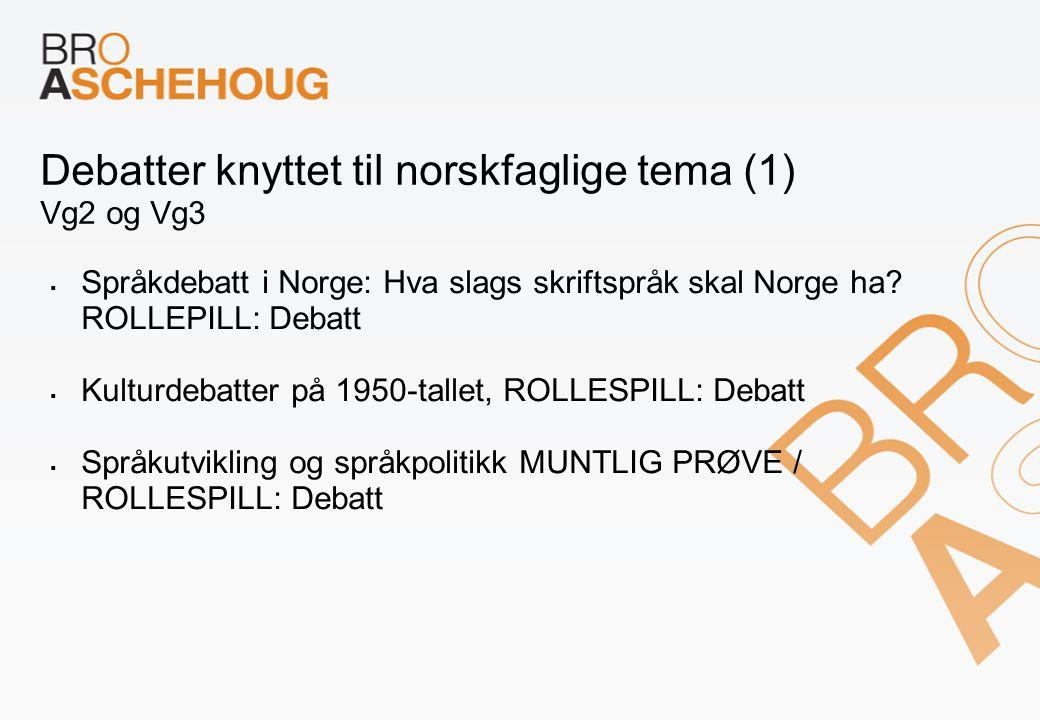 Debatter knyttet til norskfaglige tema (1) Vg2 og Vg3  Språkdebatt i Norge: Hva slags skriftspråk skal Norge ha? ROLLEPILL: Debatt  Kulturdebatter p