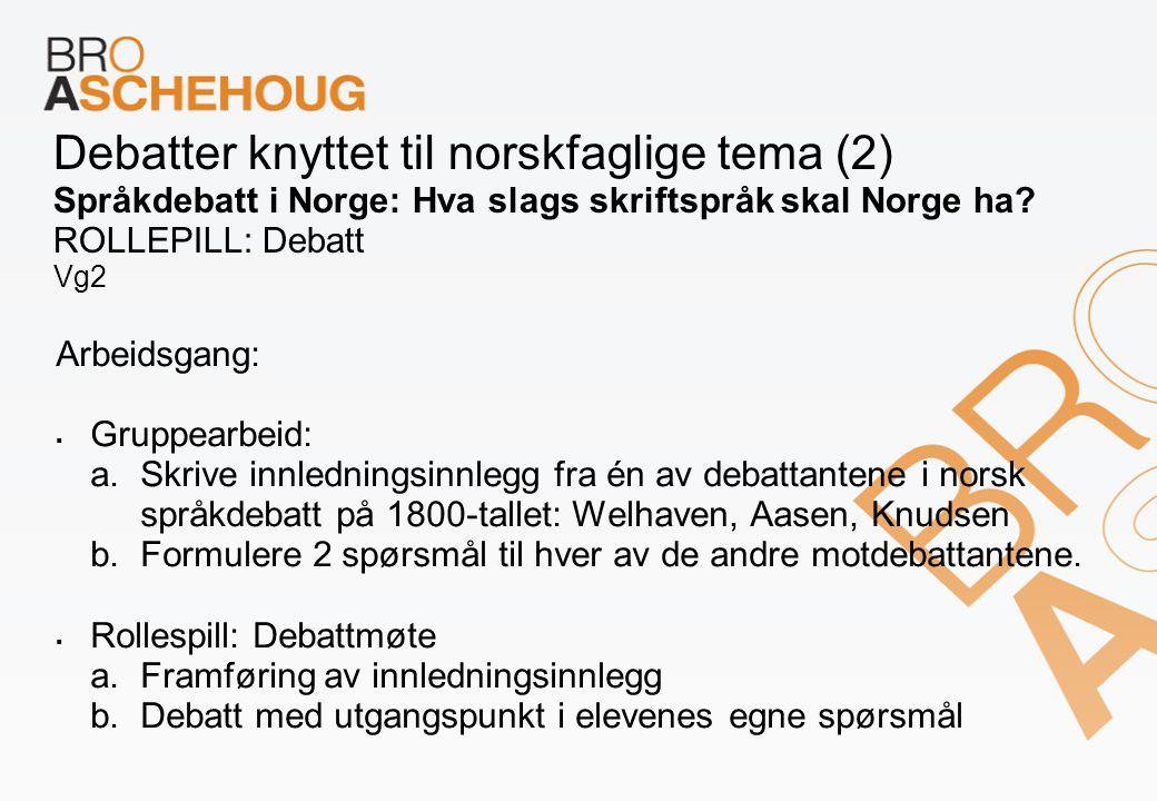 Debatter knyttet til norskfaglige tema (2) Språkdebatt i Norge: Hva slags skriftspråk skal Norge ha? ROLLEPILL: Debatt Vg2 Arbeidsgang:  Gruppearbeid