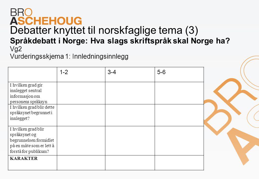 Debatter knyttet til norskfaglige tema (3) Språkdebatt i Norge: Hva slags skriftspråk skal Norge ha? Vg2 Vurderingsskjema 1: Innledningsinnlegg 1-23-4
