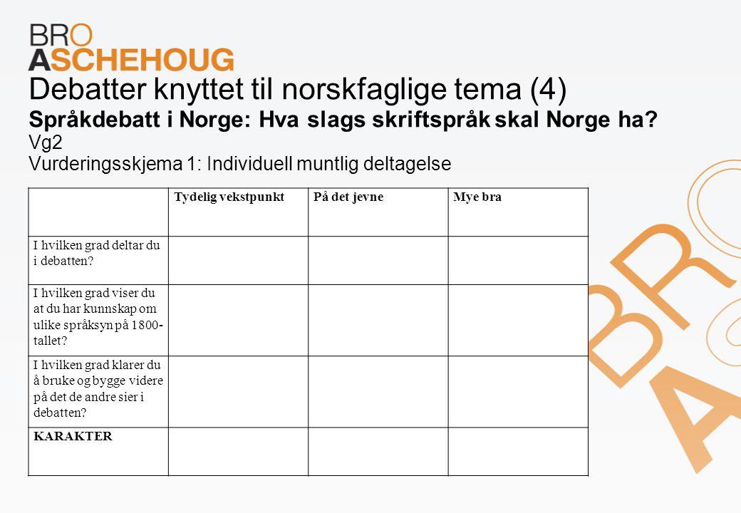 Debatter knyttet til norskfaglige tema (4) Språkdebatt i Norge: Hva slags skriftspråk skal Norge ha? Vg2 Vurderingsskjema 1: Individuell muntlig delta