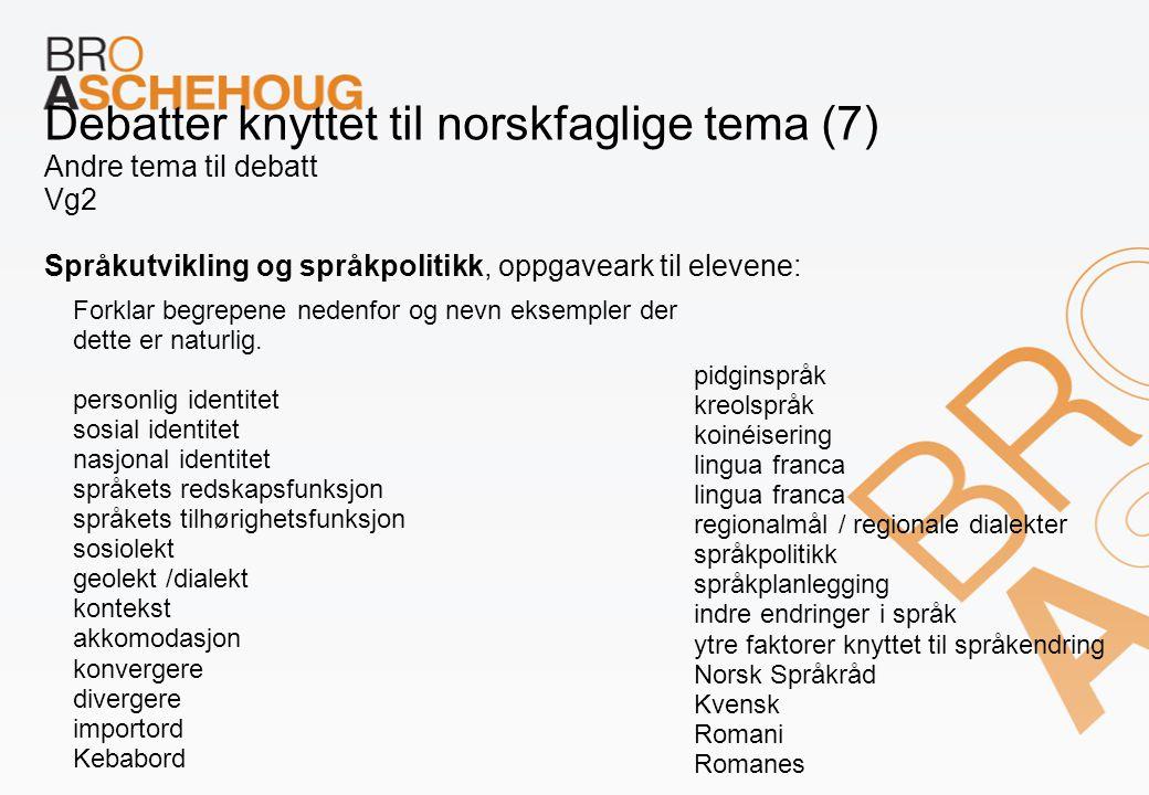 Debatter knyttet til norskfaglige tema (7) Andre tema til debatt Vg2 Språkutvikling og språkpolitikk, oppgaveark til elevene: Forklar begrepene nedenf