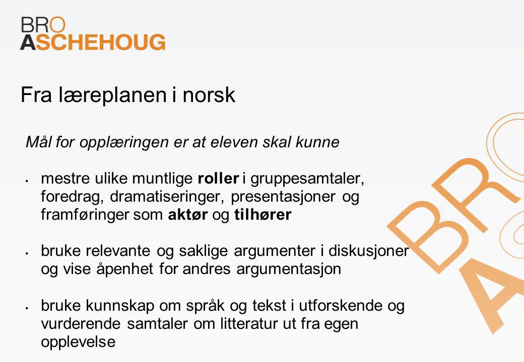 Fra læreplanen i norsk Mål for opplæringen er at eleven skal kunne  mestre ulike muntlige roller i gruppesamtaler, foredrag, dramatiseringer, present
