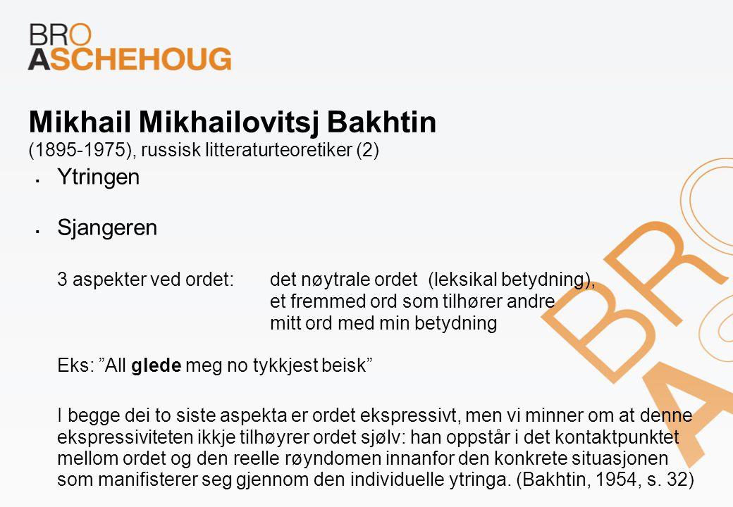 Mikhail Mikhailovitsj Bakhtin (1895-1975), russisk litteraturteoretiker (2)  Ytringen  Sjangeren 3 aspekter ved ordet:det nøytrale ordet (leksikal b