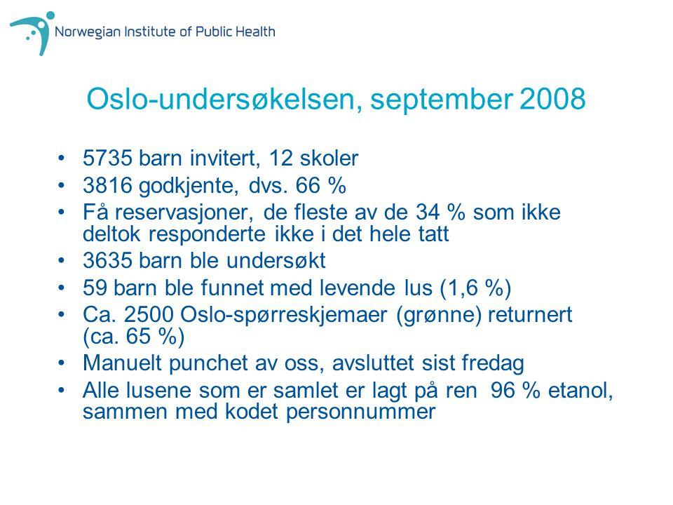 Oslo-undersøkelsen, september 2008 5735 barn invitert, 12 skoler 3816 godkjente, dvs. 66 % Få reservasjoner, de fleste av de 34 % som ikke deltok resp