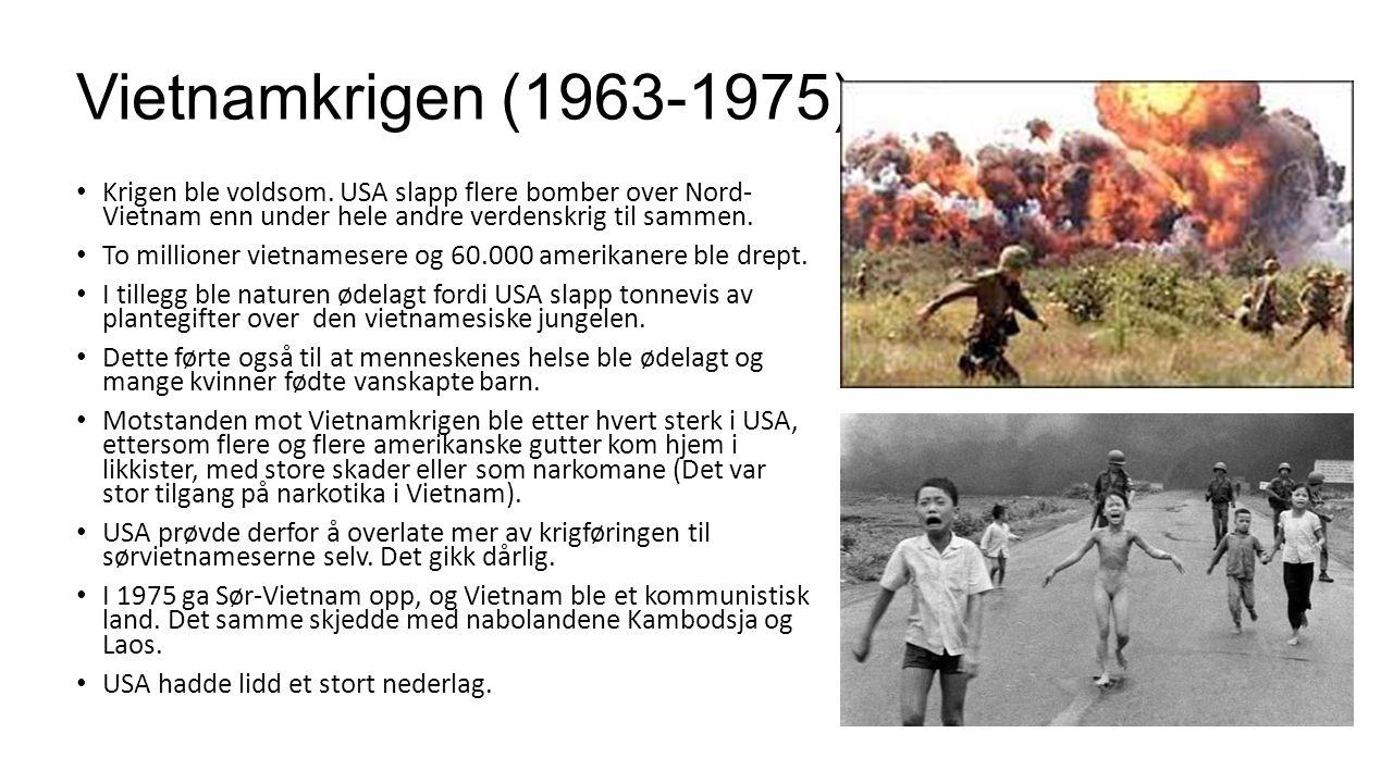 Vietnamkrigen (1963-1975) Krigen ble voldsom. USA slapp flere bomber over Nord- Vietnam enn under hele andre verdenskrig til sammen. To millioner viet
