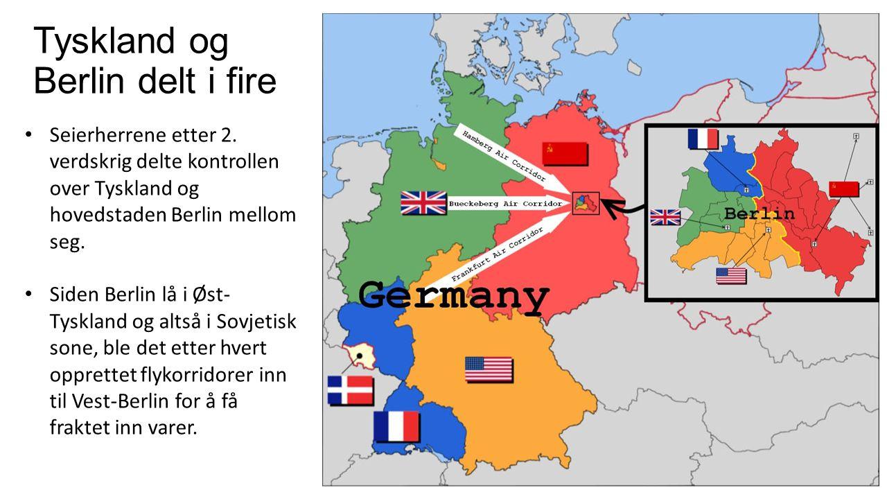 Tyskland og Berlin delt i fire Seierherrene etter 2. verdskrig delte kontrollen over Tyskland og hovedstaden Berlin mellom seg. Siden Berlin lå i Øst-