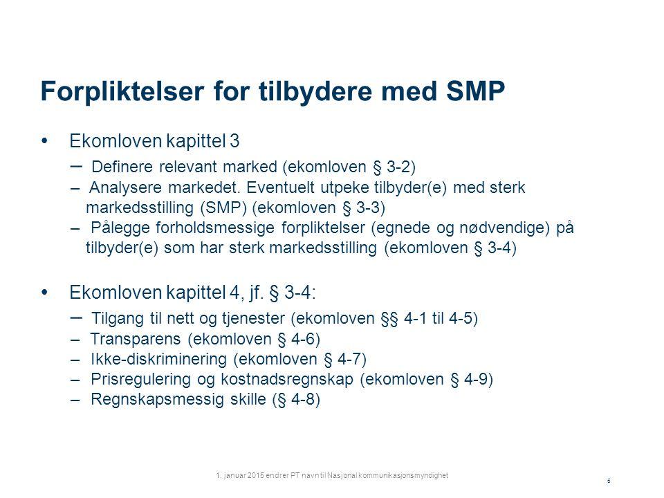 Forpliktelser for tilbydere med SMP  Ekomloven kapittel 3 – Definere relevant marked (ekomloven § 3-2) – Analysere markedet.