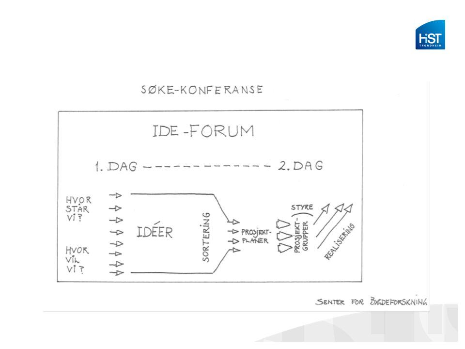 Oppsummert -Innspill om temaet -Idémyldring -Innsnevring av idéene -Prioritering av innsatsområder -Ansvarsavklaring til slutt -Noen overraskende oppgaver underveis -Ledere som er fast i strukturen og myk i formen