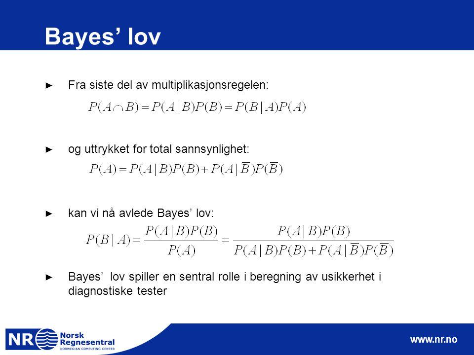 www.nr.no Bayes' lov ► Fra siste del av multiplikasjonsregelen: ► og uttrykket for total sannsynlighet: ► kan vi nå avlede Bayes' lov: ► Bayes' lov sp