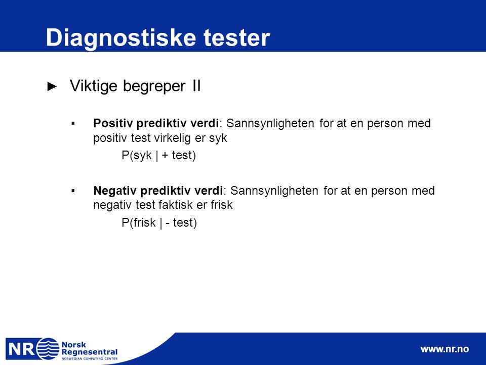 www.nr.no Diagnostiske tester ► Viktige begreper II ▪Positiv prediktiv verdi: Sannsynligheten for at en person med positiv test virkelig er syk P(syk