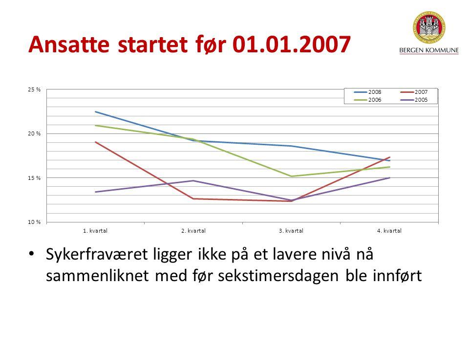 Sykerfraværet ligger ikke på et lavere nivå nå sammenliknet med før sekstimersdagen ble innført Ansatte startet før 01.01.2007