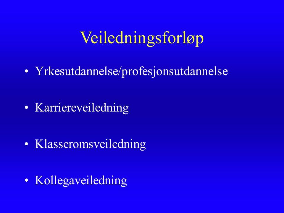 Veiledningsforløp Yrkesutdannelse/profesjonsutdannelse Karriereveiledning Klasseromsveiledning Kollegaveiledning