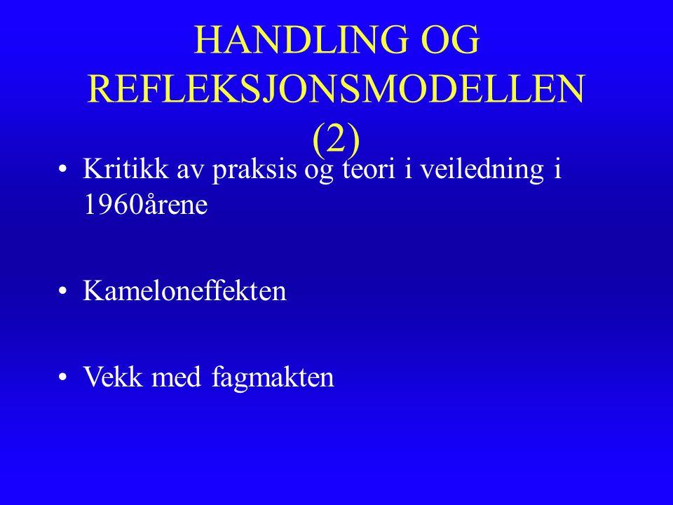HANDLING OG REFLEKSJONSMODELLEN (2) Kritikk av praksis og teori i veiledning i 1960årene Kameloneffekten Vekk med fagmakten
