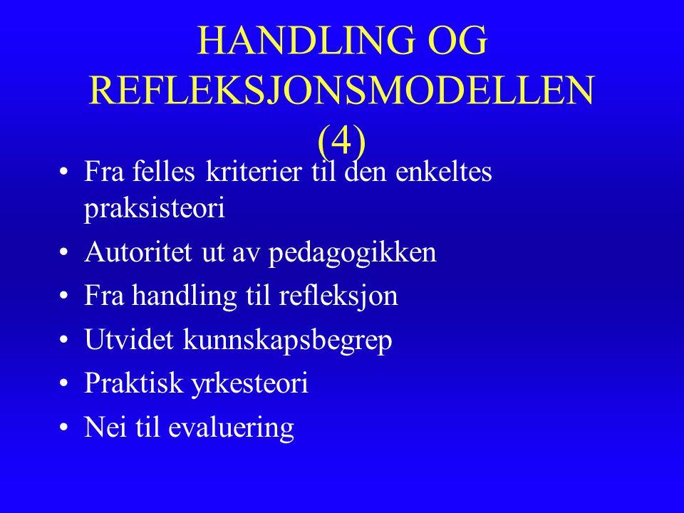 HANDLING OG REFLEKSJONSMODELLEN (4) Fra felles kriterier til den enkeltes praksisteori Autoritet ut av pedagogikken Fra handling til refleksjon Utvide