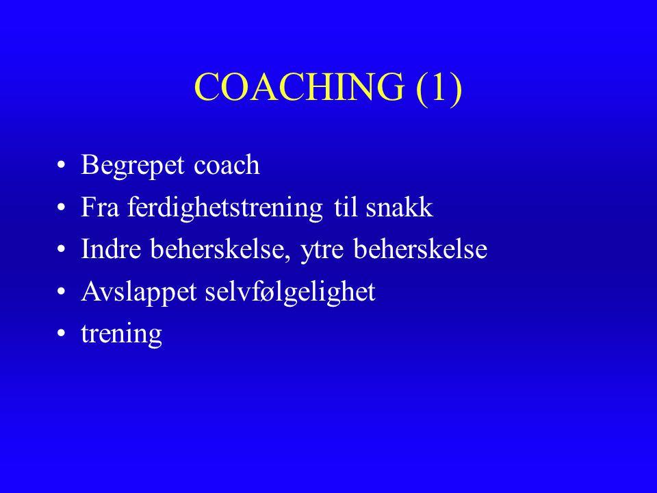 COACHING (1) Begrepet coach Fra ferdighetstrening til snakk Indre beherskelse, ytre beherskelse Avslappet selvfølgelighet trening