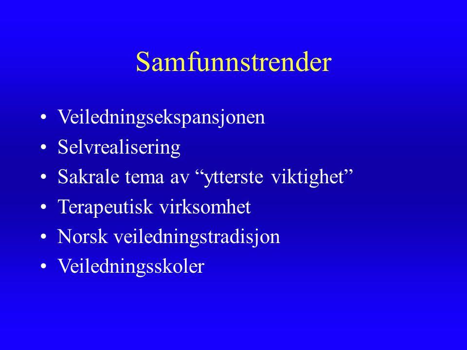 """Samfunnstrender Veiledningsekspansjonen Selvrealisering Sakrale tema av """"ytterste viktighet"""" Terapeutisk virksomhet Norsk veiledningstradisjon Veiledn"""