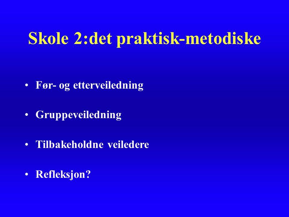 Skole 2:det praktisk-metodiske Før- og etterveiledning Gruppeveiledning Tilbakeholdne veiledere Refleksjon?