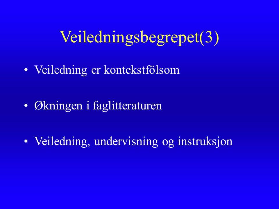 Veiledningsbegrepet(3) Veiledning er kontekstfölsom Økningen i faglitteraturen Veiledning, undervisning og instruksjon