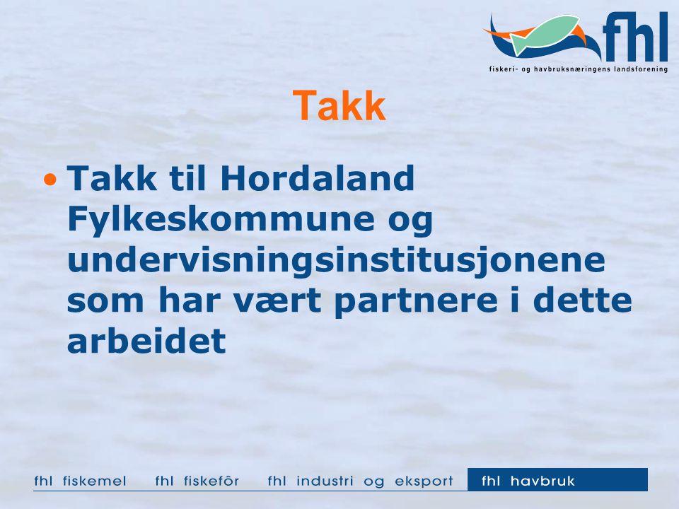 Takk Takk til Hordaland Fylkeskommune og undervisningsinstitusjonene som har vært partnere i dette arbeidet