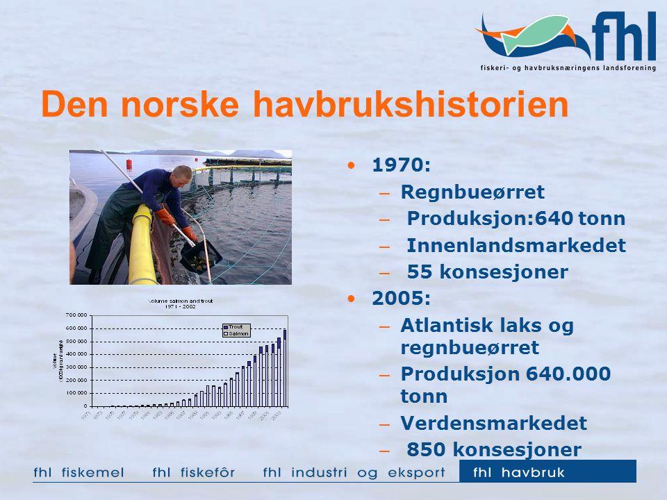Den norske havbrukshistorien 1970: – Regnbueørret – Produksjon:640 tonn – Innenlandsmarkedet – 55 konsesjoner 2005: – Atlantisk laks og regnbueørret –