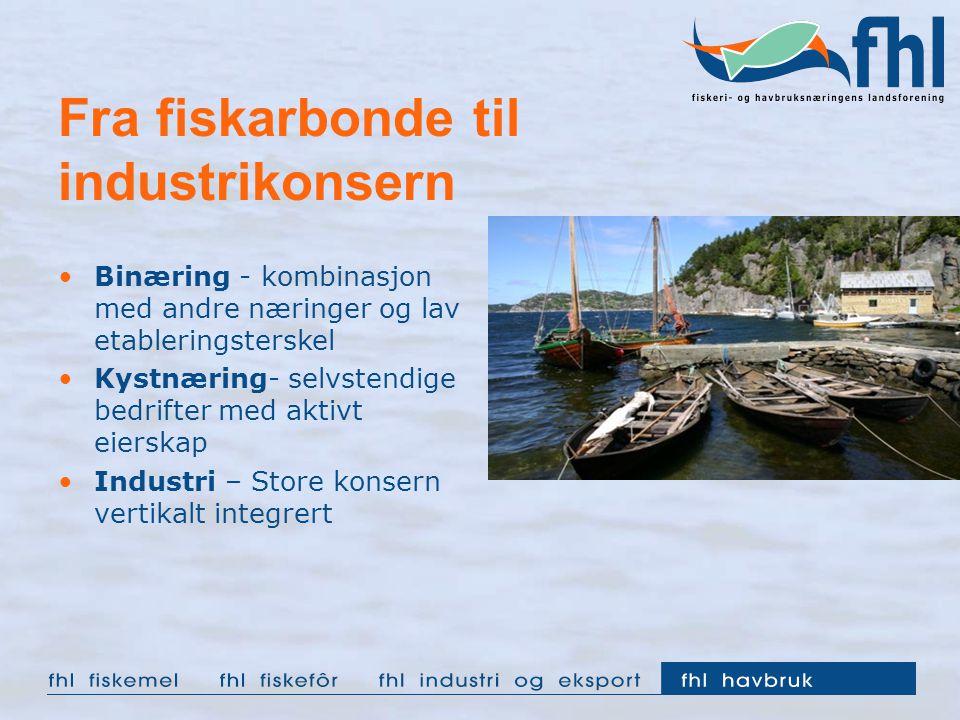 Fra fiskarbonde til industrikonsern Binæring - kombinasjon med andre næringer og lav etableringsterskel Kystnæring- selvstendige bedrifter med aktivt