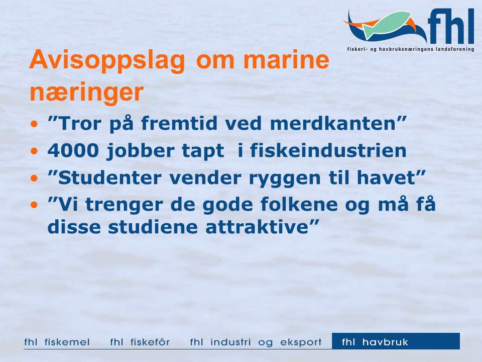 """Avisoppslag om marine næringer """"Tror på fremtid ved merdkanten"""" 4000 jobber tapt i fiskeindustrien """"Studenter vender ryggen til havet"""" """"Vi trenger de"""