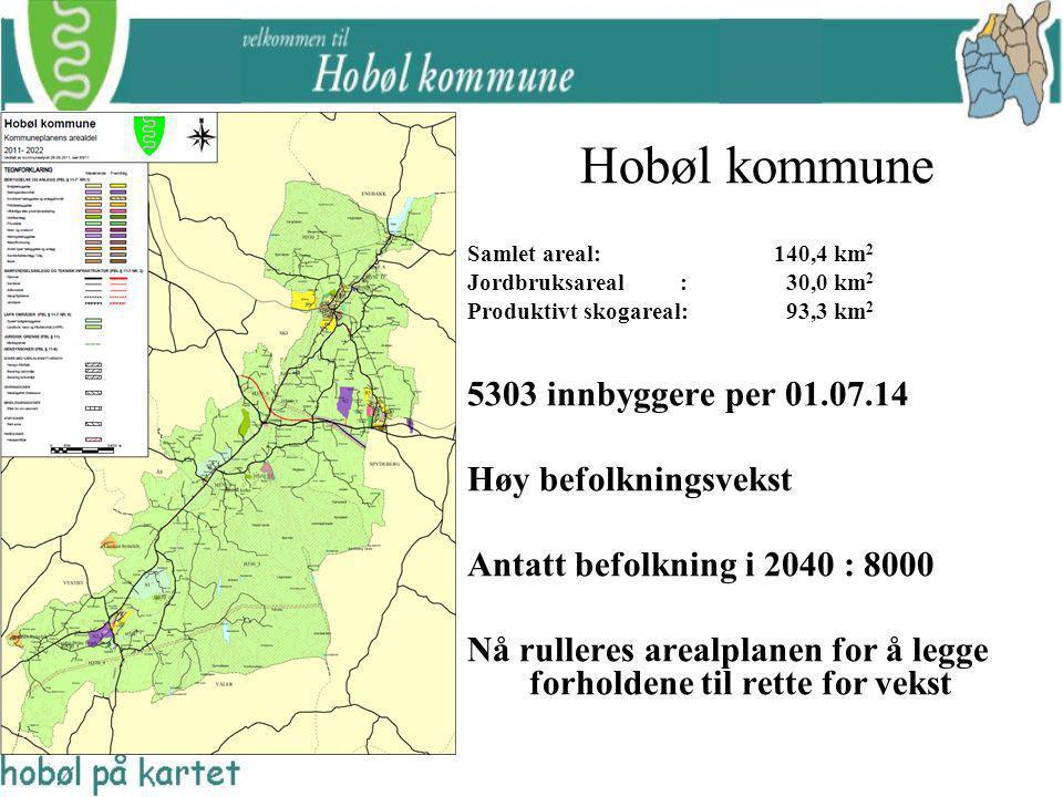 Hobøl kommune Samlet areal: 140,4 km 2 Jordbruksareal : 30,0 km 2 Produktivt skogareal:93,3 km 2 5303 innbyggere per 01.07.14 Høy befolkningsvekst Ant