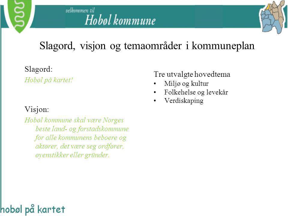Slagord, visjon og temaområder i kommuneplan Tre utvalgte hovedtema Miljø og kultur Folkehelse og levekår Verdiskaping Slagord: Hobøl på kartet! Visjo